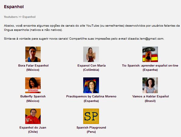 Captura do conteúdo Youtubers espanhol