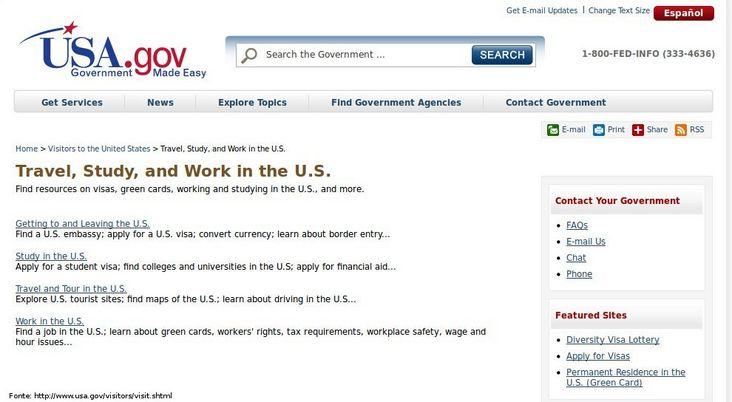 Thumb da página do governo dos Estados Unidos