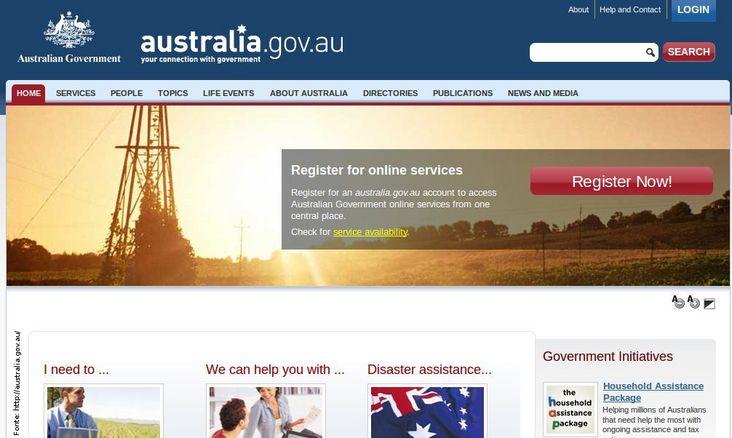 Página do governo da Austrália