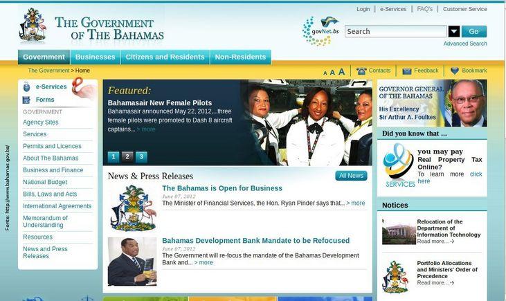 Página do governo das Bahamas