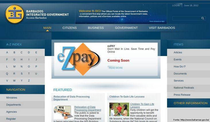 Página do governo de Barbados