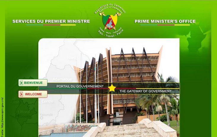 Página do governo de Camarões
