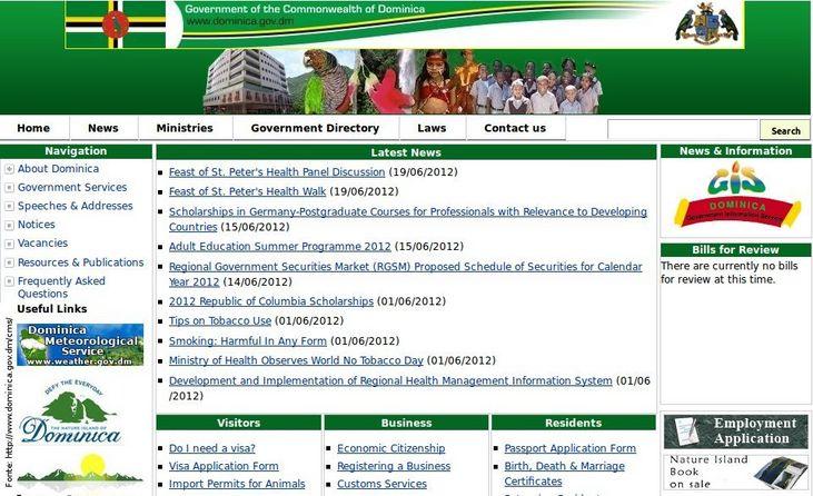 Página do governo da Dominica