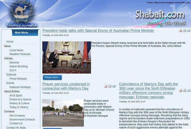 Thumb da página do governo da Eritreia