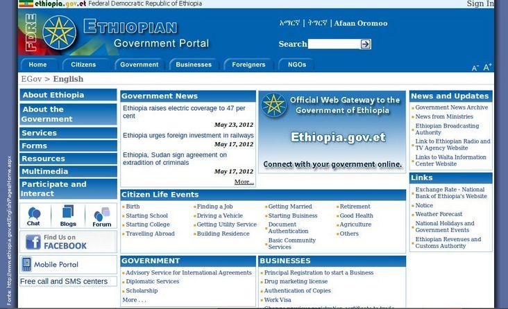 Página do governo da Etiópia