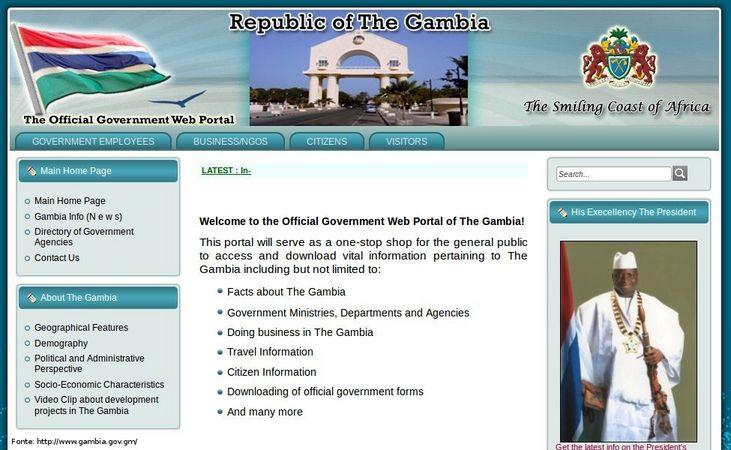 Página do governo da Gâmbia