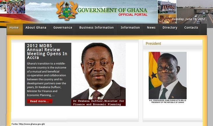 Página do governo de Gana