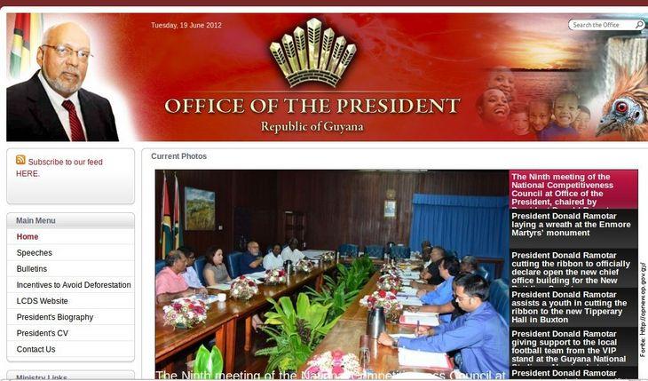 Página do governo de Guiana
