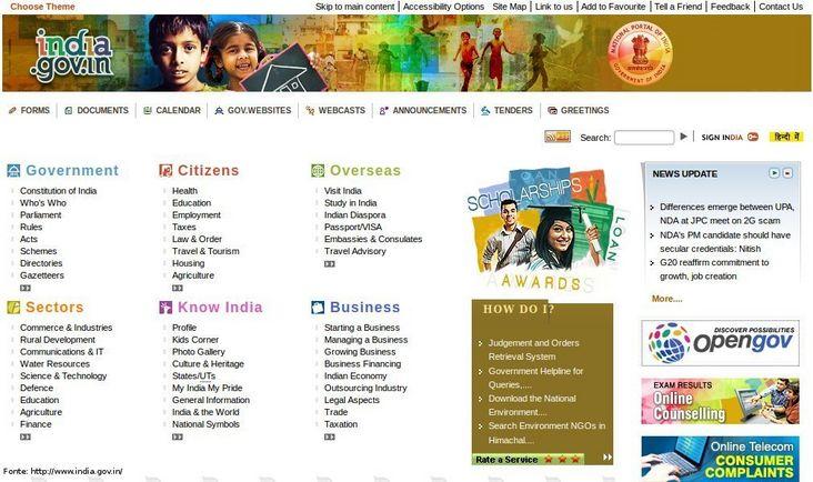 Página do governo da Índia