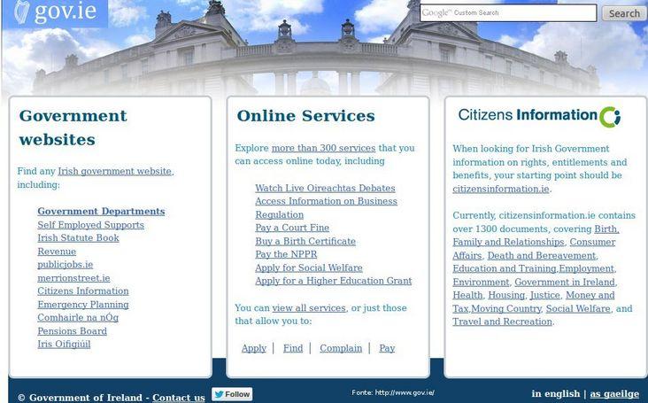 Página do governo da Irlanda