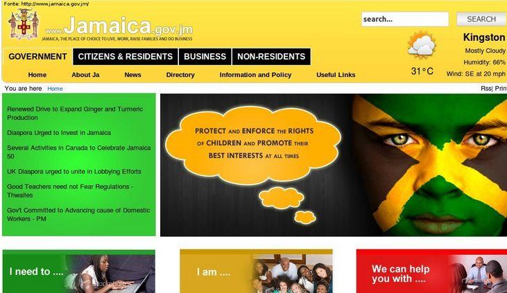 Página do governo da Jamaida