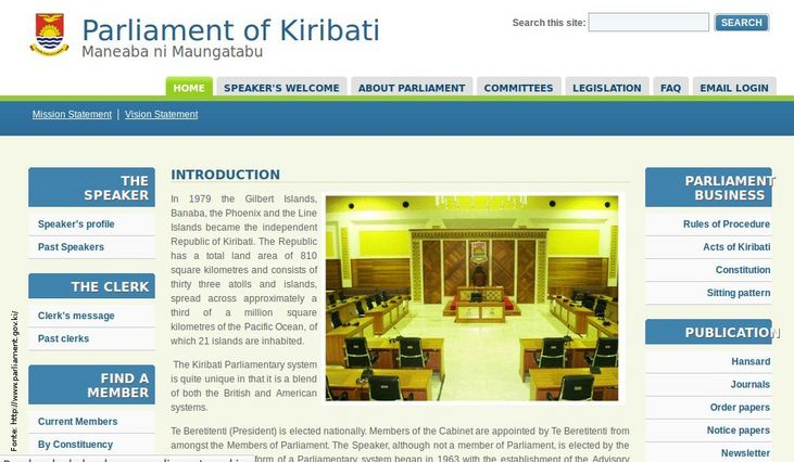 P�gina do governo de Kiribati