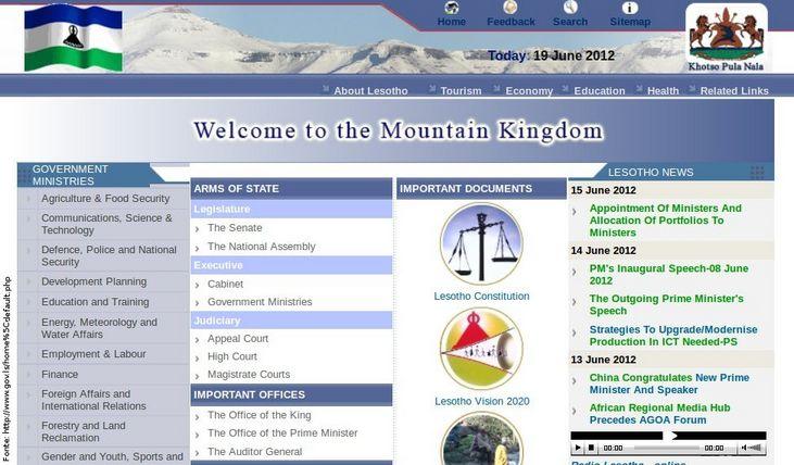 Página do governo de Lesoto