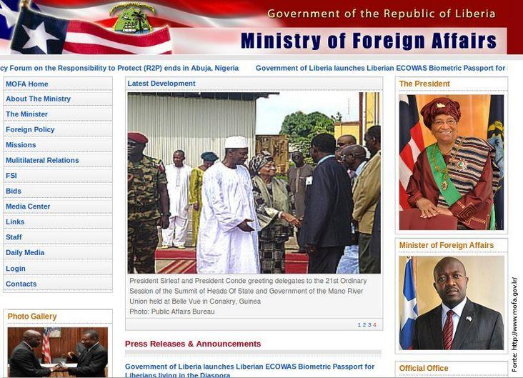 Página do governo da Libéria