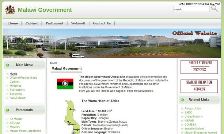 P�gina do governo do Malawi