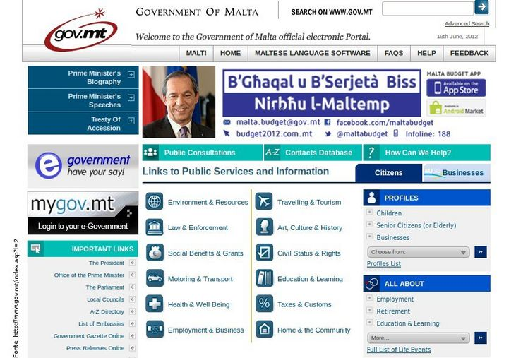 Página do governo de Malta