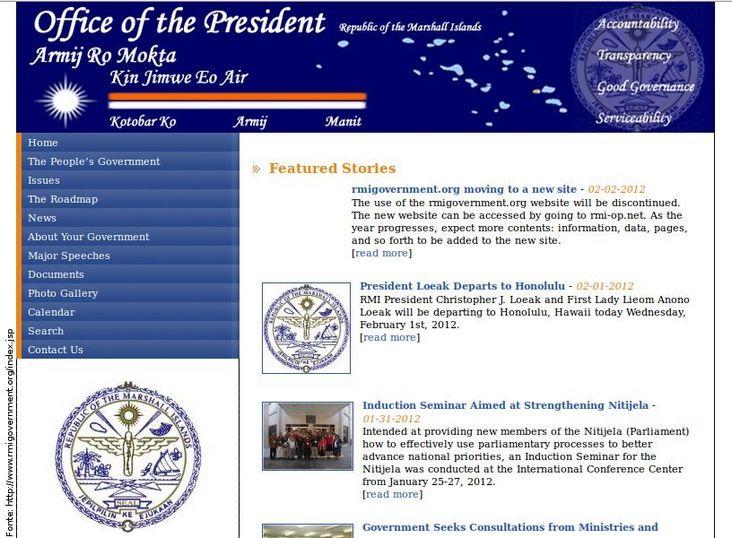 Página do governo das Ilhas Marshall