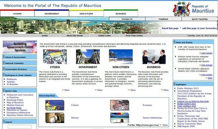 Página do governo das Ilhas Maurício