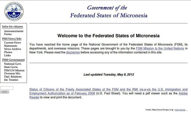 Página do governo da Micronésia