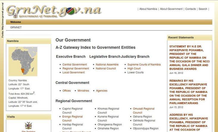 Página do governo da Namíbia