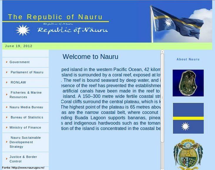 Thumb da página do governo de Nauru
