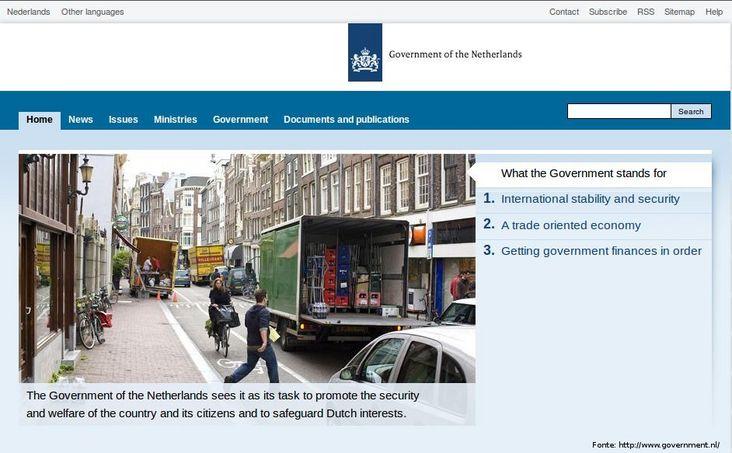 Página do governo da Holanda