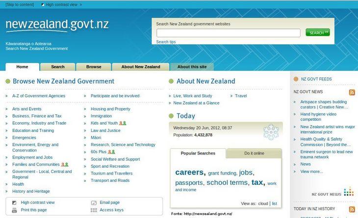 Página do governo da Nova Zelândia