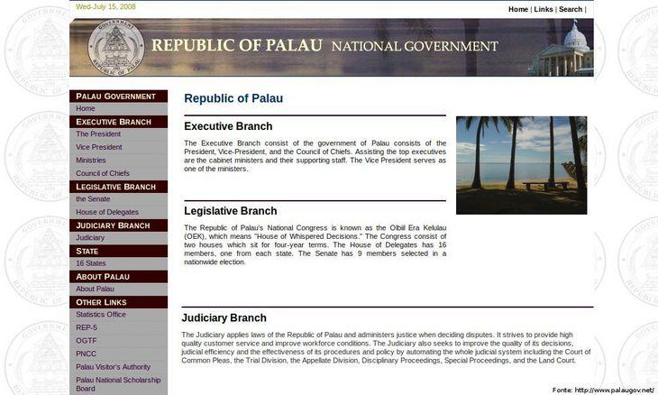Página do governo de Palau