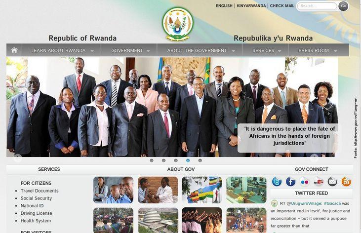 Página do governo da Ruanda