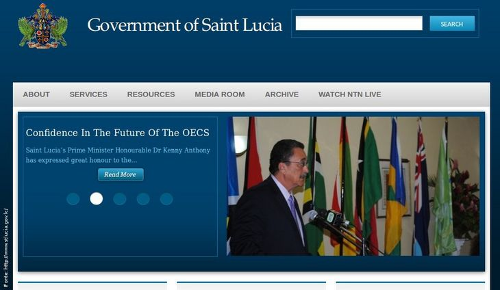 Página do governo de Santa Lúcia