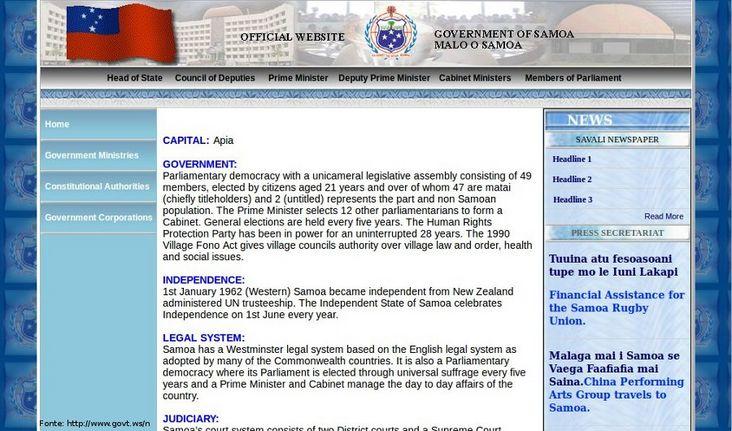 Thumb da página do governo de Samoa