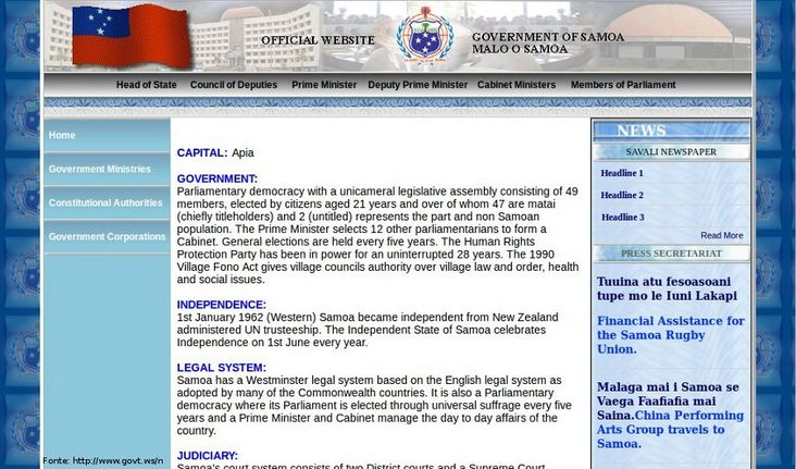 Thumb da p�gina do governo de Samoa