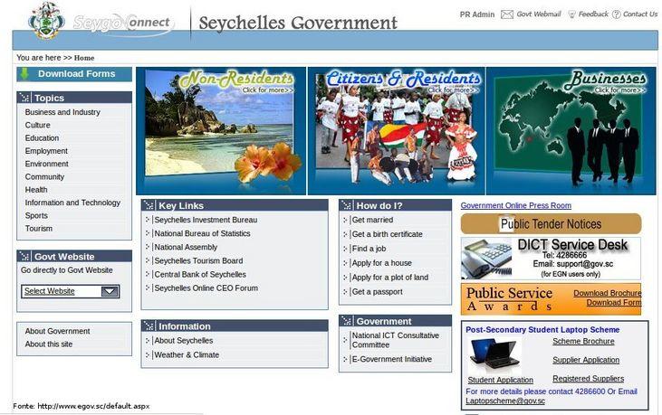 Página do governo de Seicheles