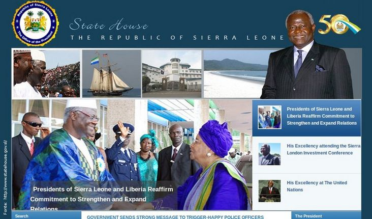 Página do governo de Serra Leoa
