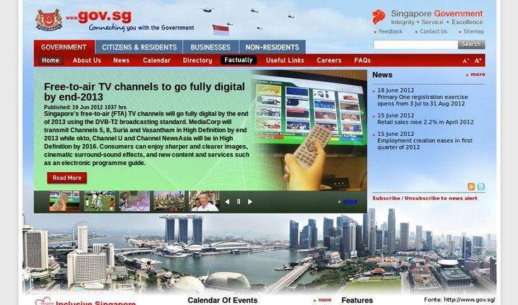 Página do governo de Cingapura