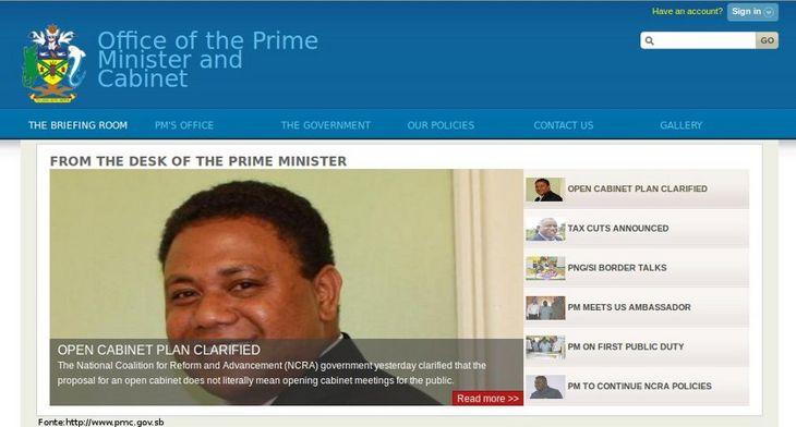 Página do governo das Ilhas Salomão
