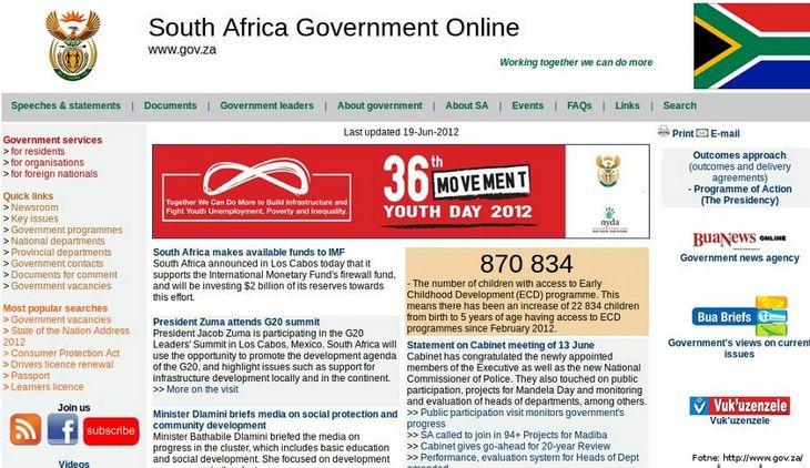 Página do governo da África do Sul