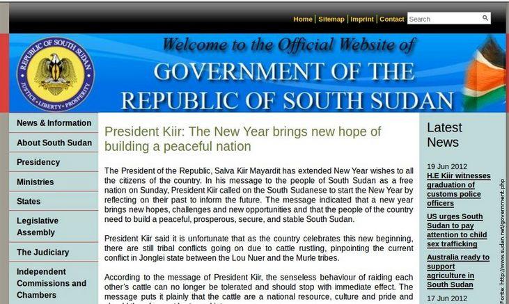 Página do governo do Sudão do Sul