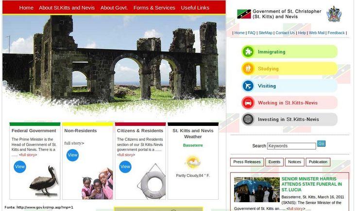 Página do governo de São Cristóvão e Nevis