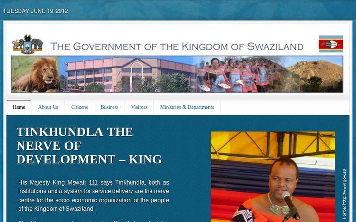 Thumb da página do governo da Suazilândia