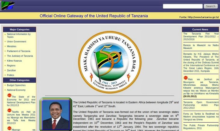 Página do governo da Tanzânia