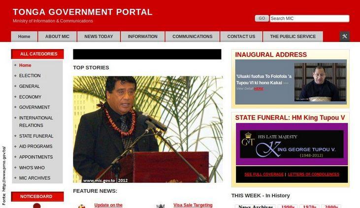 Página do governo de Tonga