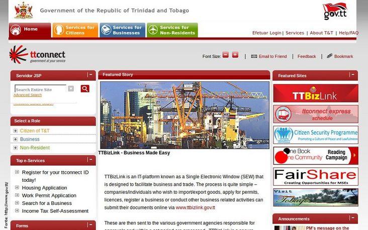 P�gina do governo de Trinidad e Tobago