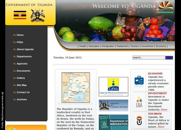 Página do governo da Uganda