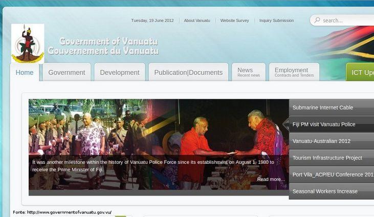 Página do governo de Vanuatu