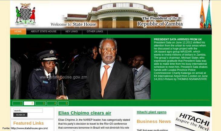 P�gina do governo da Zambia