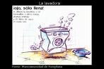 """Parte da imagem """"Folleto"""", desenvolvida pela Mancomunidad de Pamplona para incentivar a economia de água. Palavras-chave: Lavadora. Água. Interculturalidade. Ahorro. Pamplona. Mancomunidad. Espanhol. Baño. Gráfico. Consumo."""