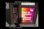 Foto da lateral de um quiosque da Once (Organización Nacional de Ciegos Españoles), loteria espanhola. Palavras-chave: Quiosco. Quiosque. Once. Loteria. Jogo. Cego. Invidente. Ciego. Compreensão. Estilística.