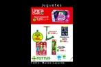 Cartaz publicitário do hipermercado Tottus, com imagens de brinquedos diversos. Palavras-chave: Cartaz. Números. Valores. Mercado. Brinquedos. Juguetes. Publicidade.