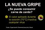 Folder da Organização Panamericana da Saúde, com informações sobre o consumo da carne de porco durante a pandemia de gripe H1N1. Palavras-chave: Gripe. H1N1. Pandemia. Atividades. México. Escola. Folder. Estados Unidos.